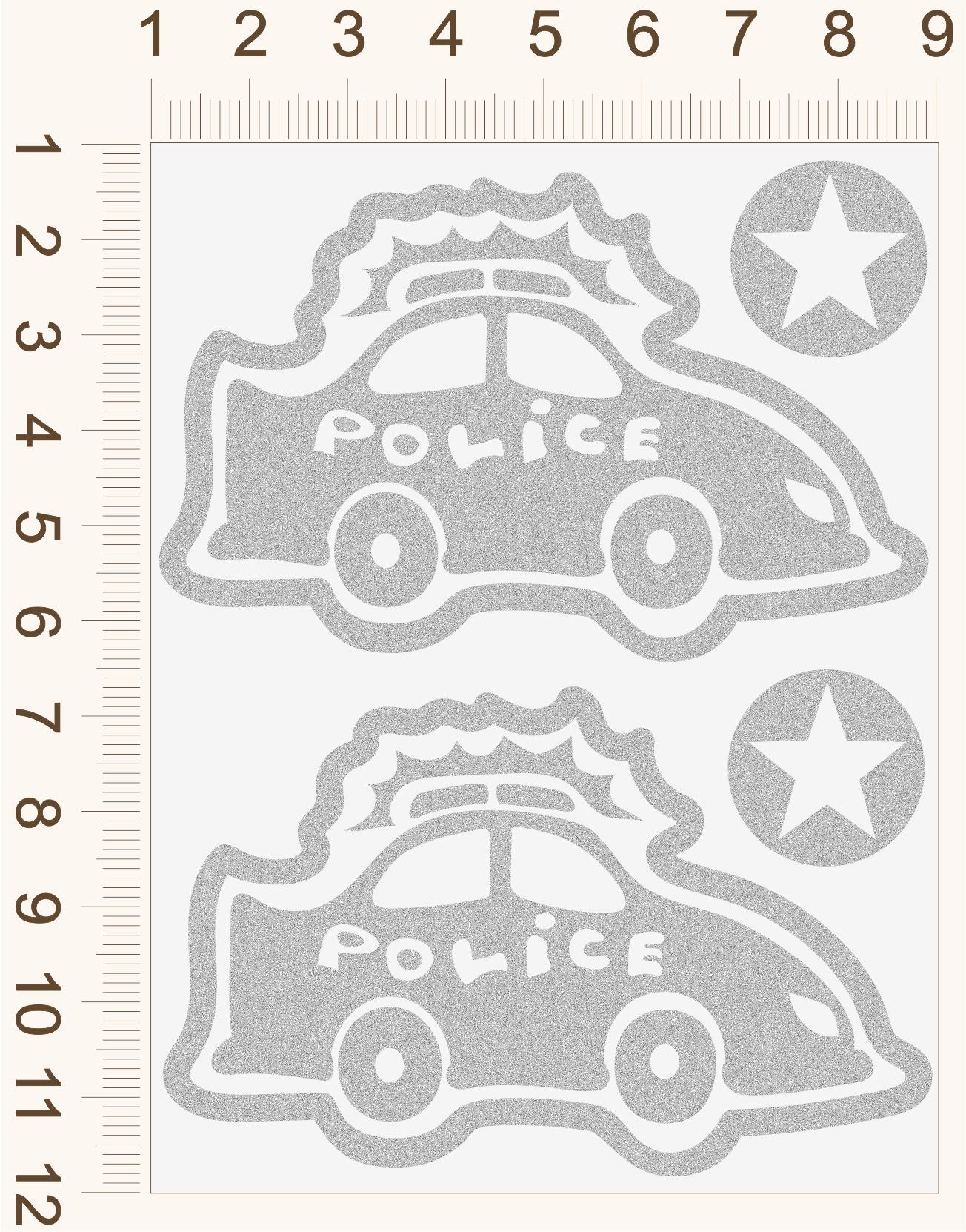 Reflexné nažehľovačky Policajné auto
