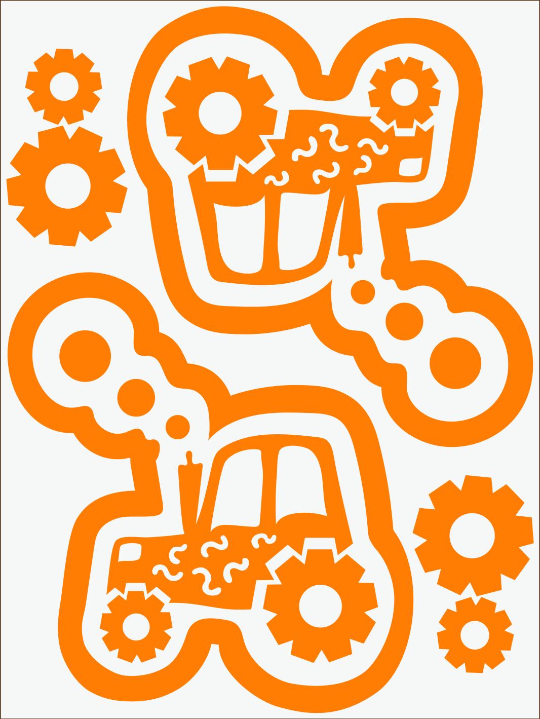 Traktor neon oranžový
