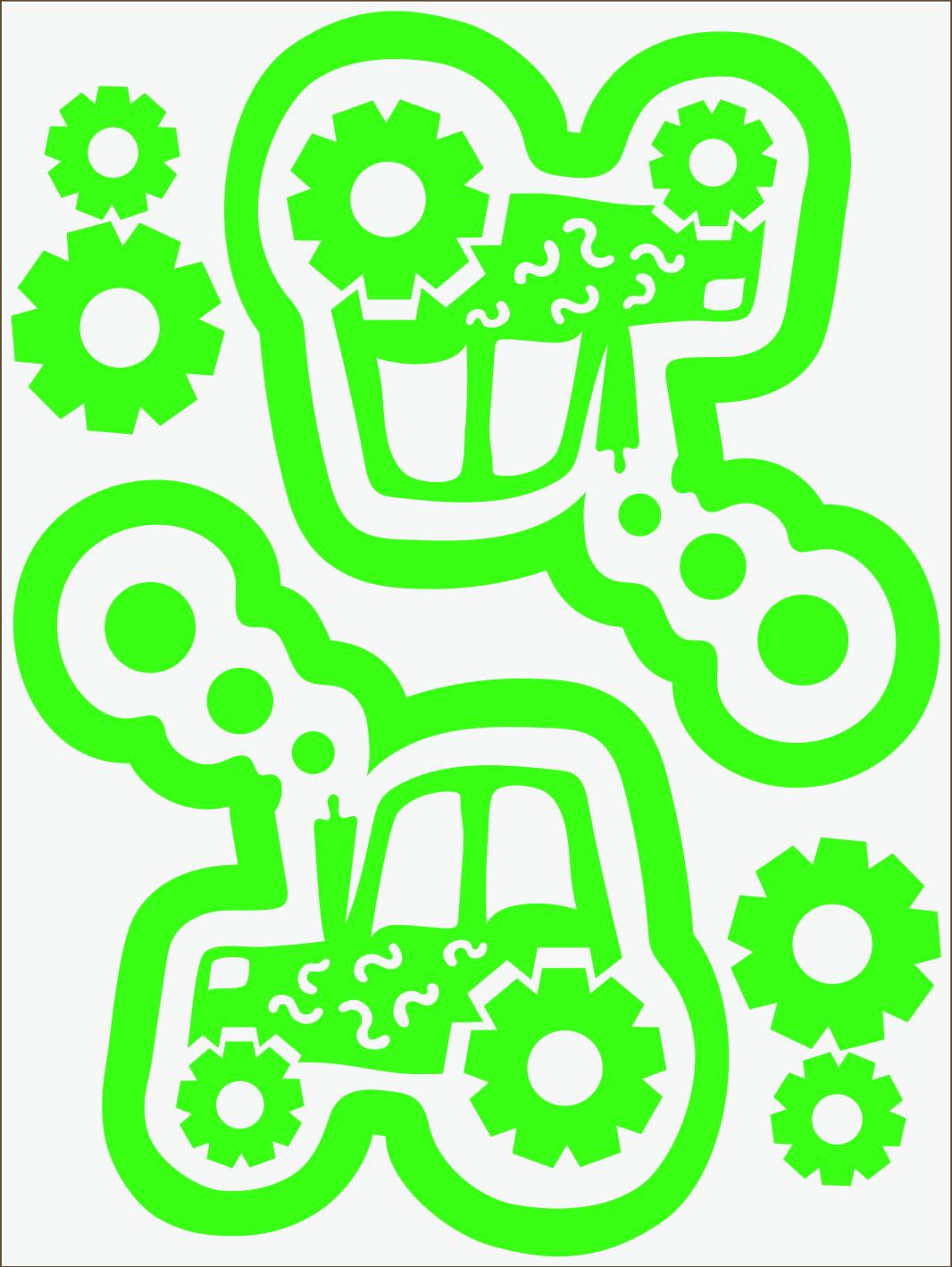 Traktor neon zelený