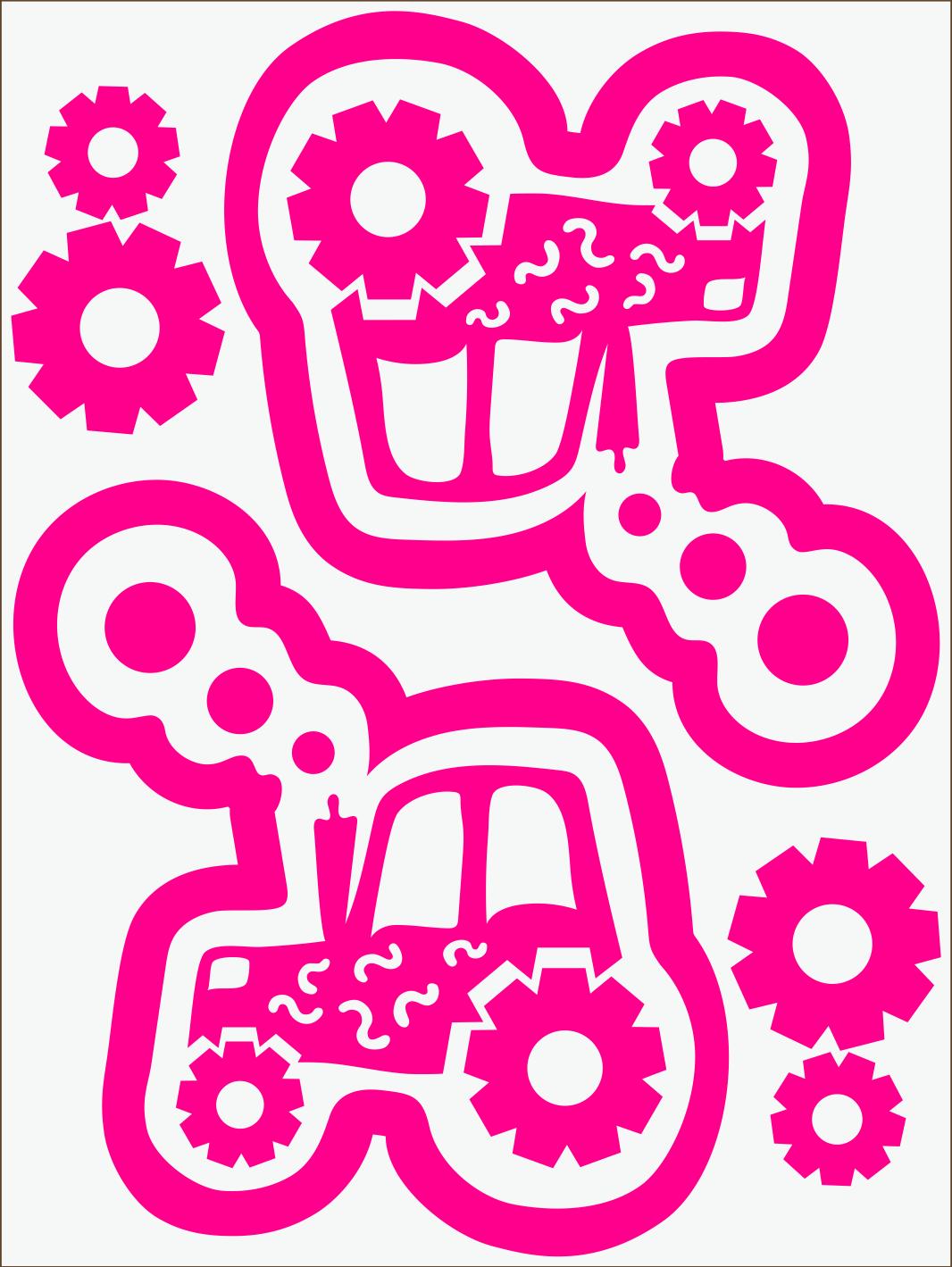 Traktor neon ružový