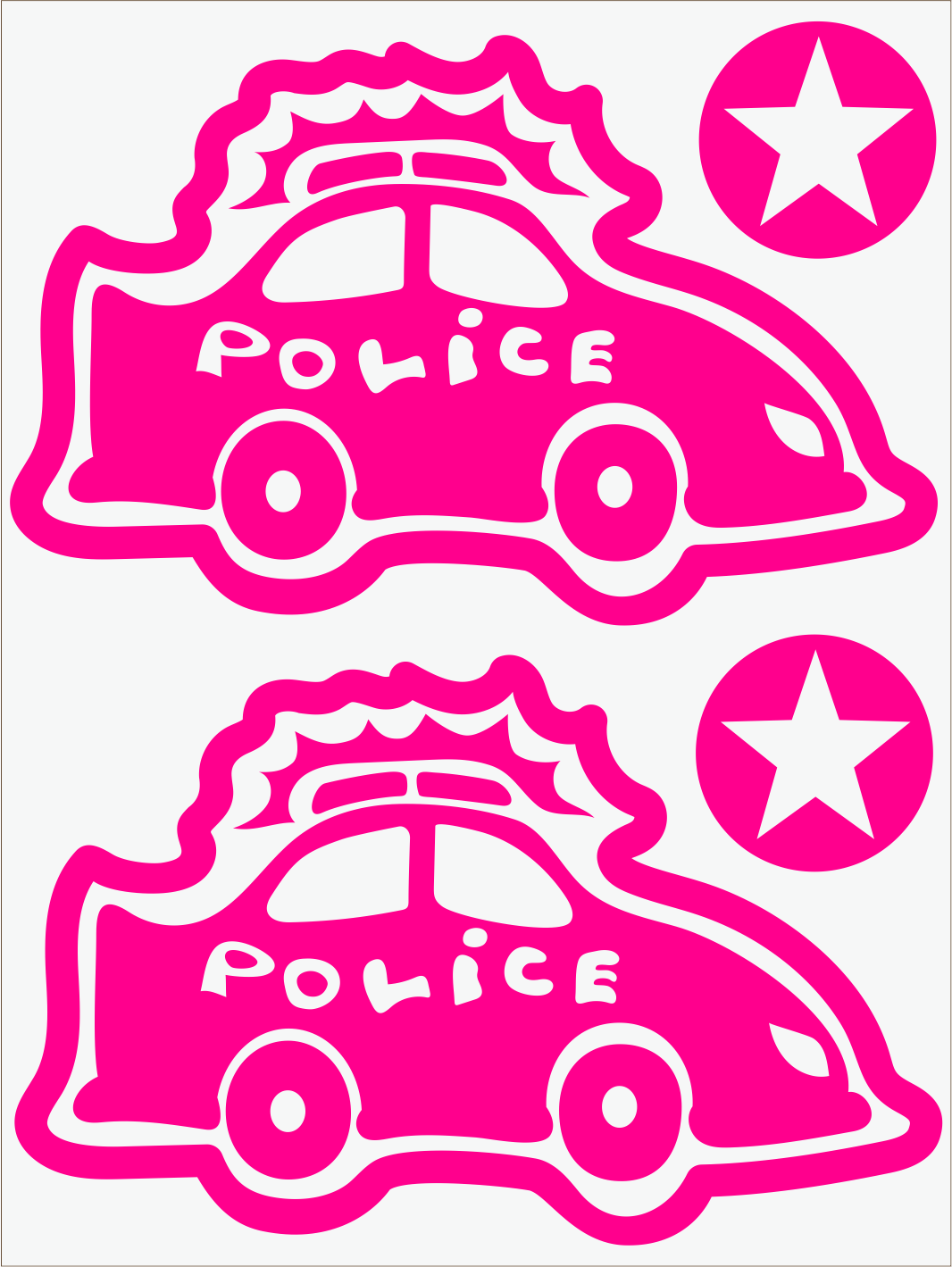 Policajné auto neon ružový