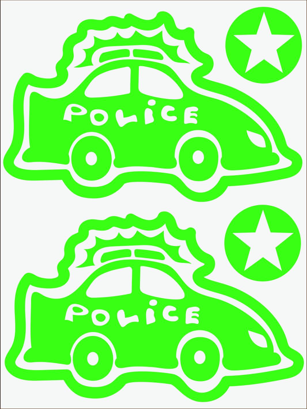 Policajné auto neon zelený