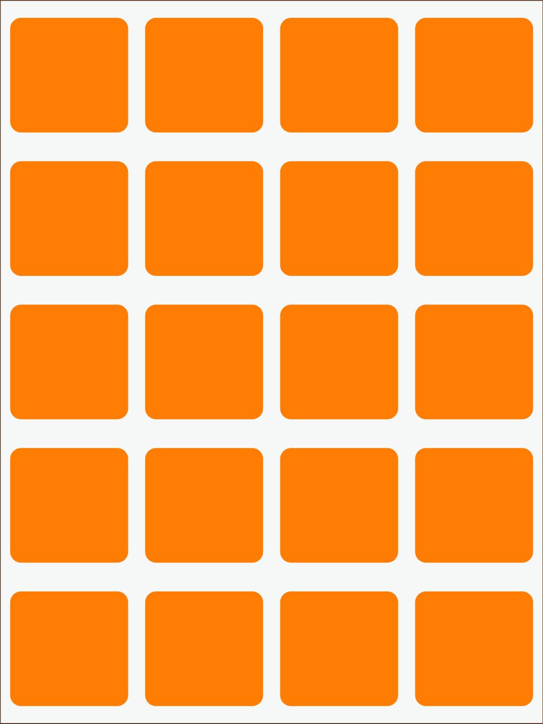 oranžový neon nažehľovačky Štvorce