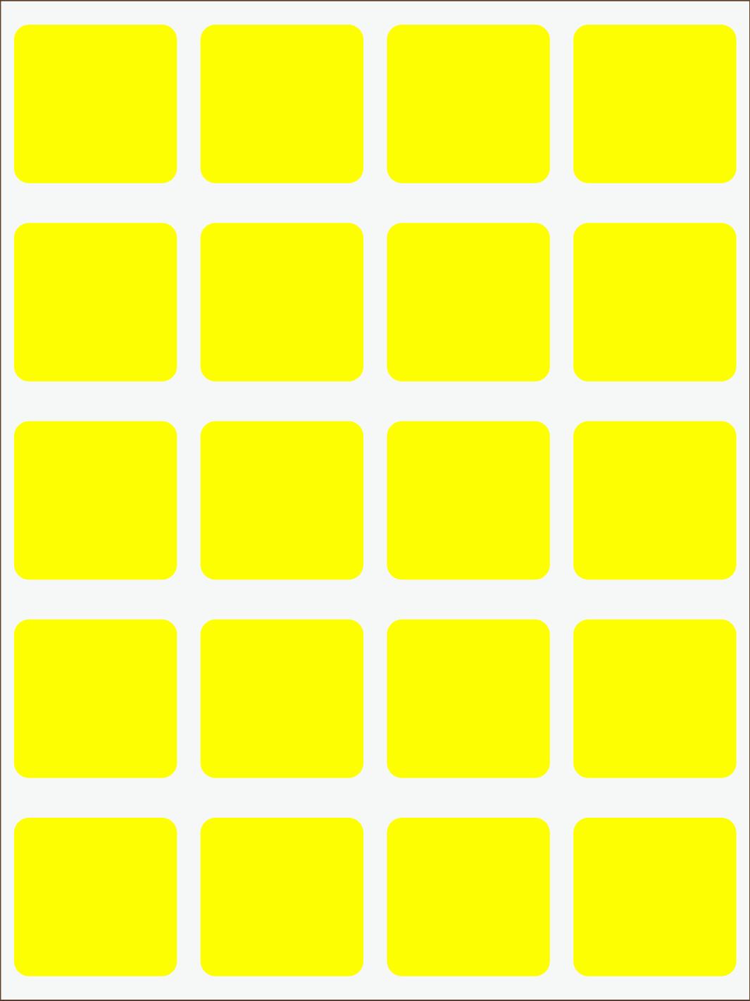 žltý  neon nažehľovačky Štvorce