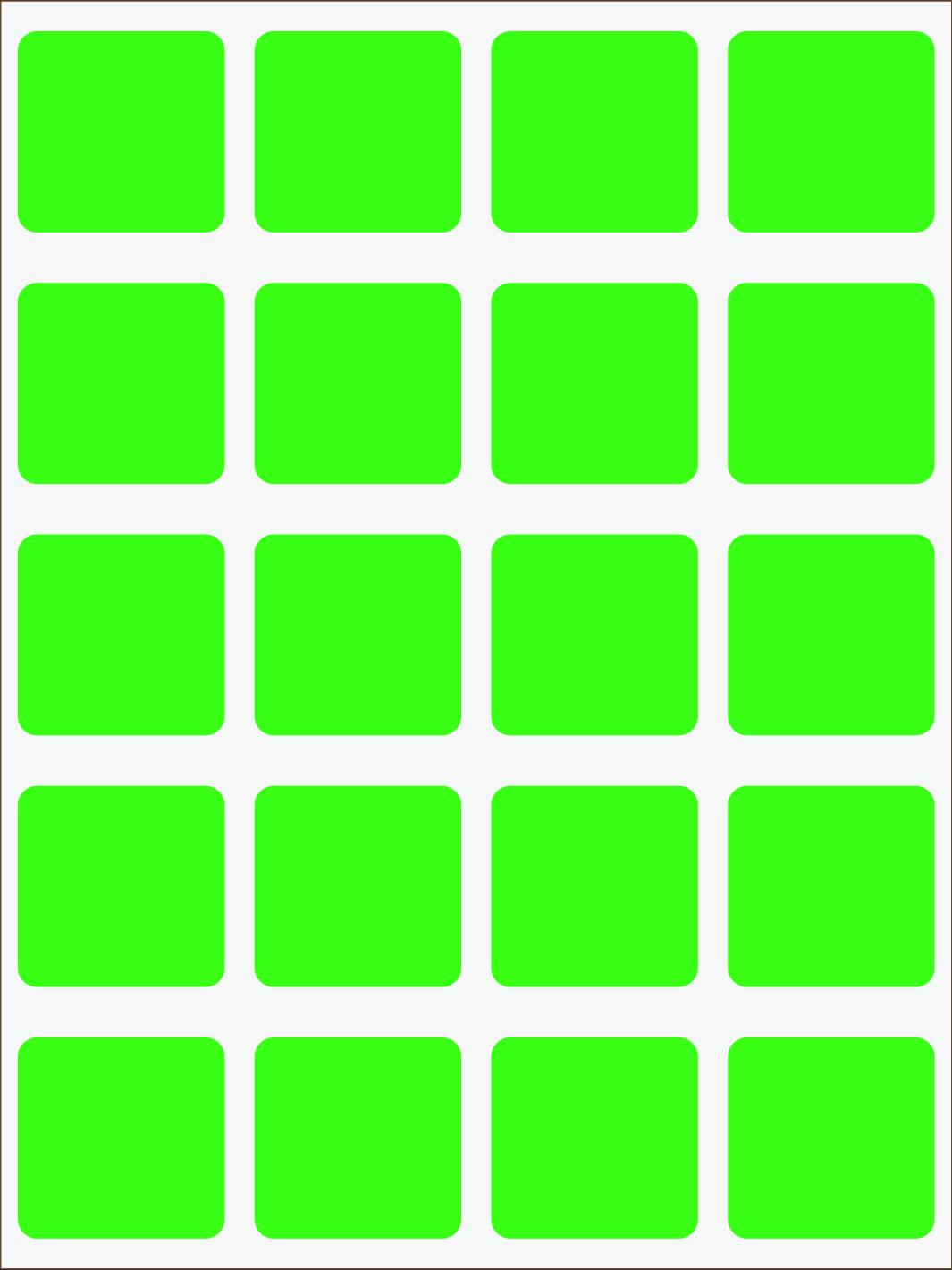 zelený neon nažehľovačky Štvorce