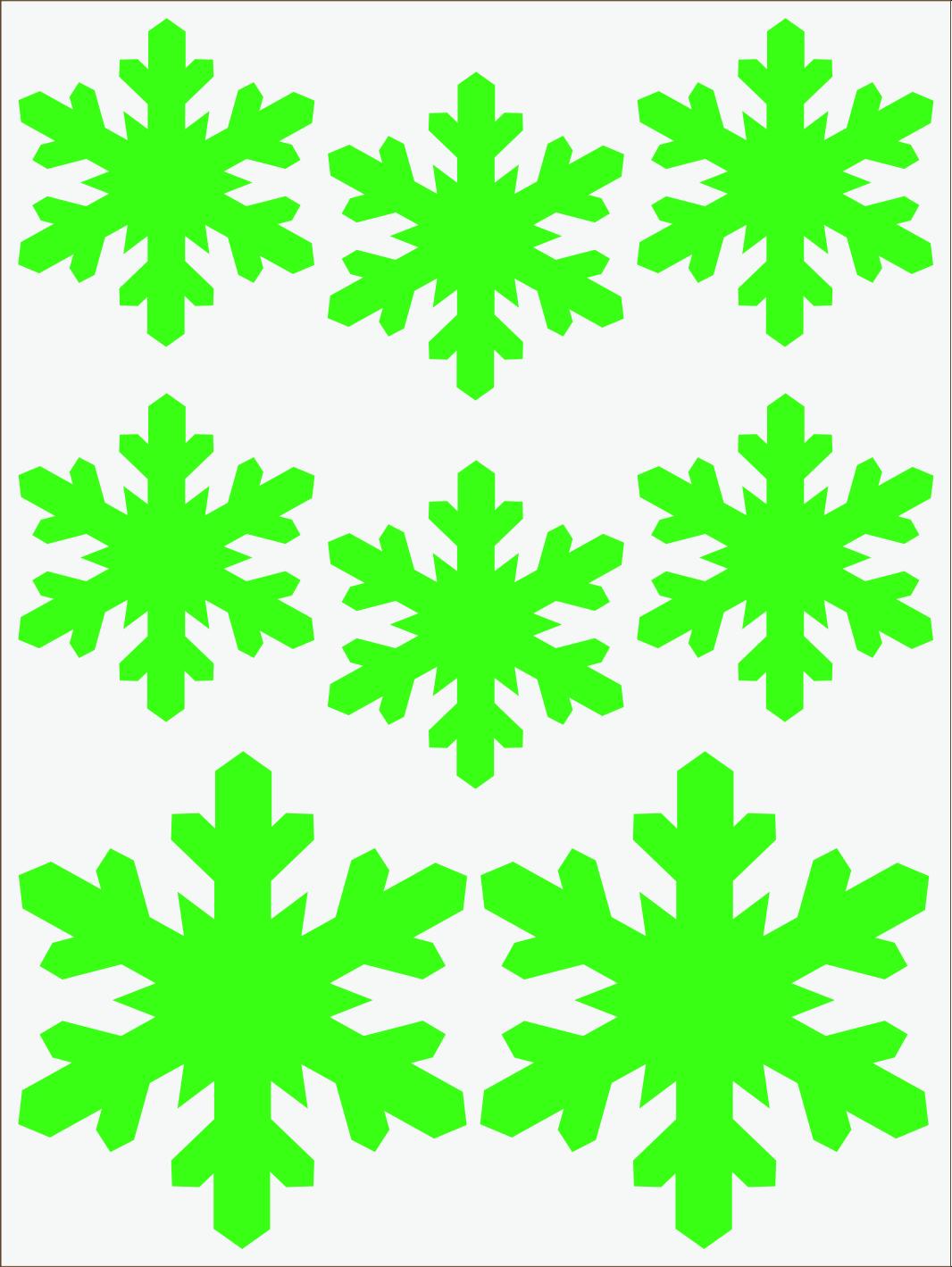 zelený neon nažehľovačky Vločky 3