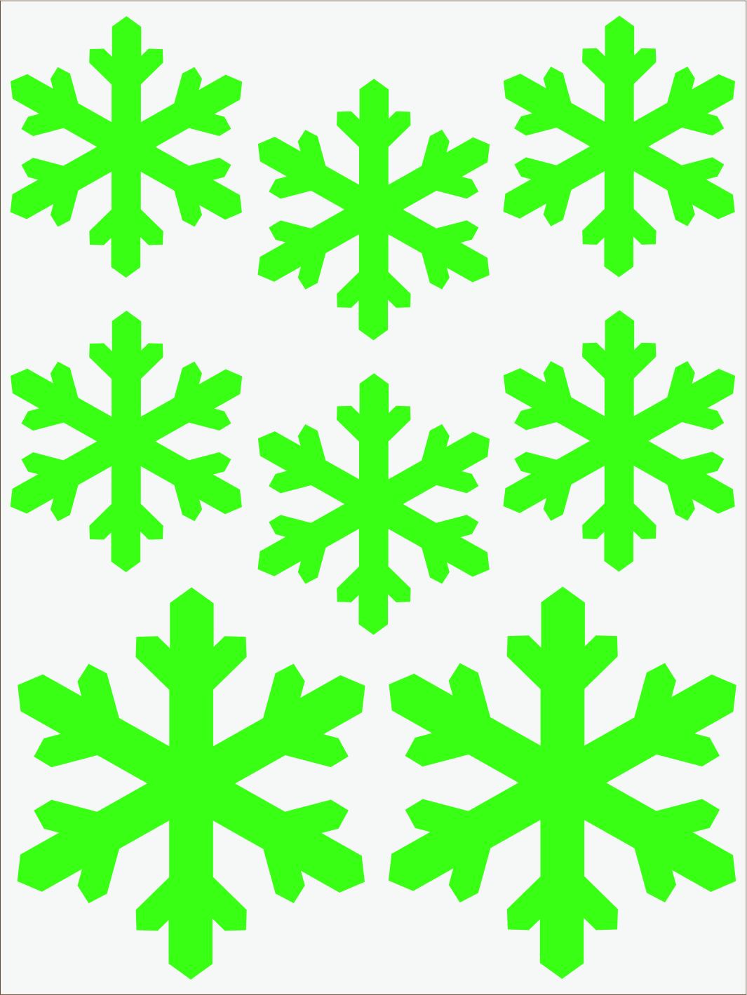 zelený neon nažehľovačky Vločky 2