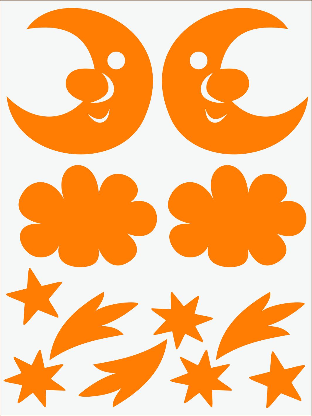 oranžový neon nažehľovačky Mesiac a kométy