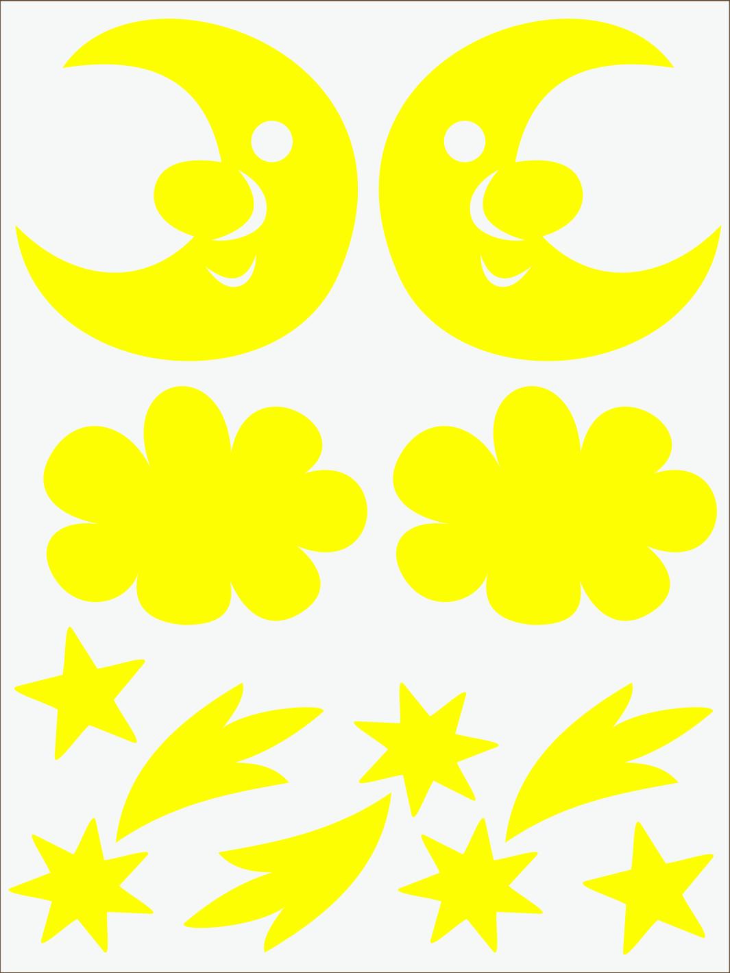 žltý  neon nažehľovačky Mesiac a kométy