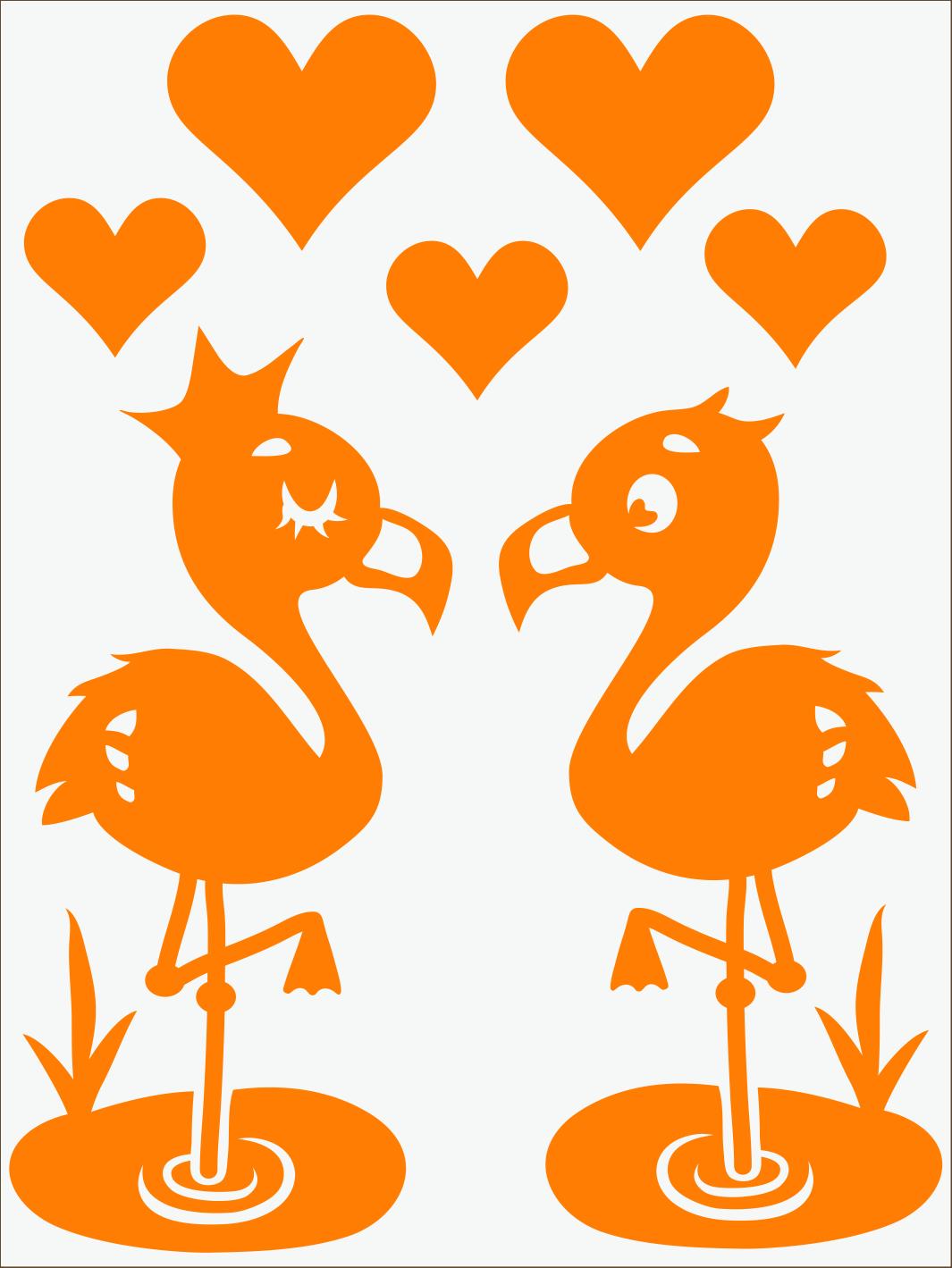 oranžový neon nažehľovačky Flamingo