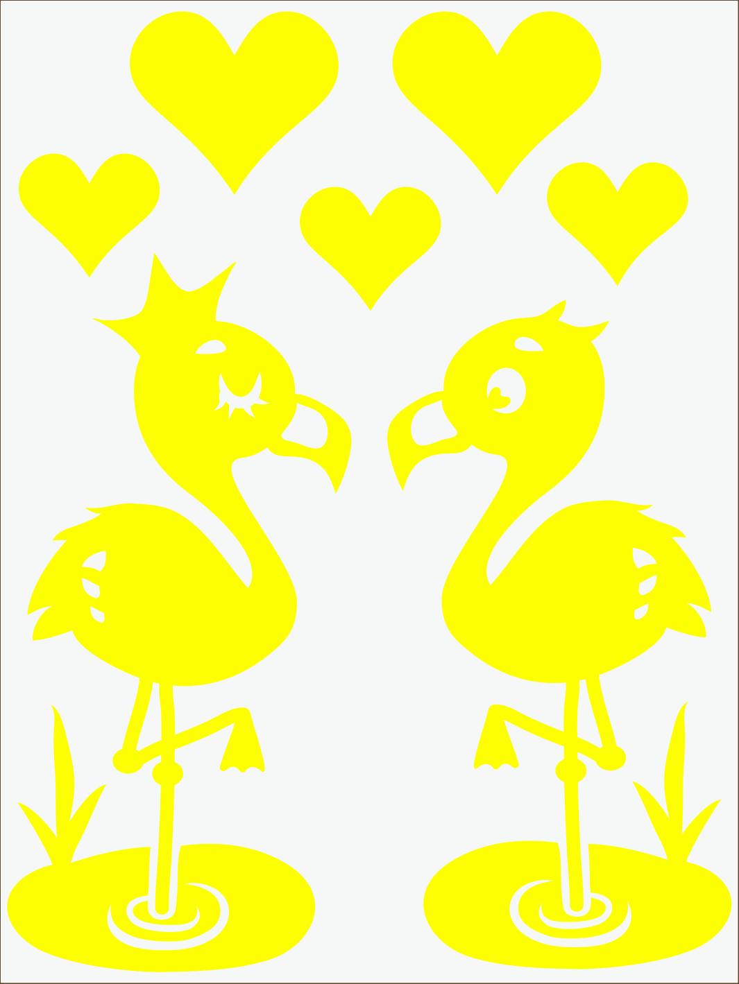 žltý  neon nažehľovačky Flamingo