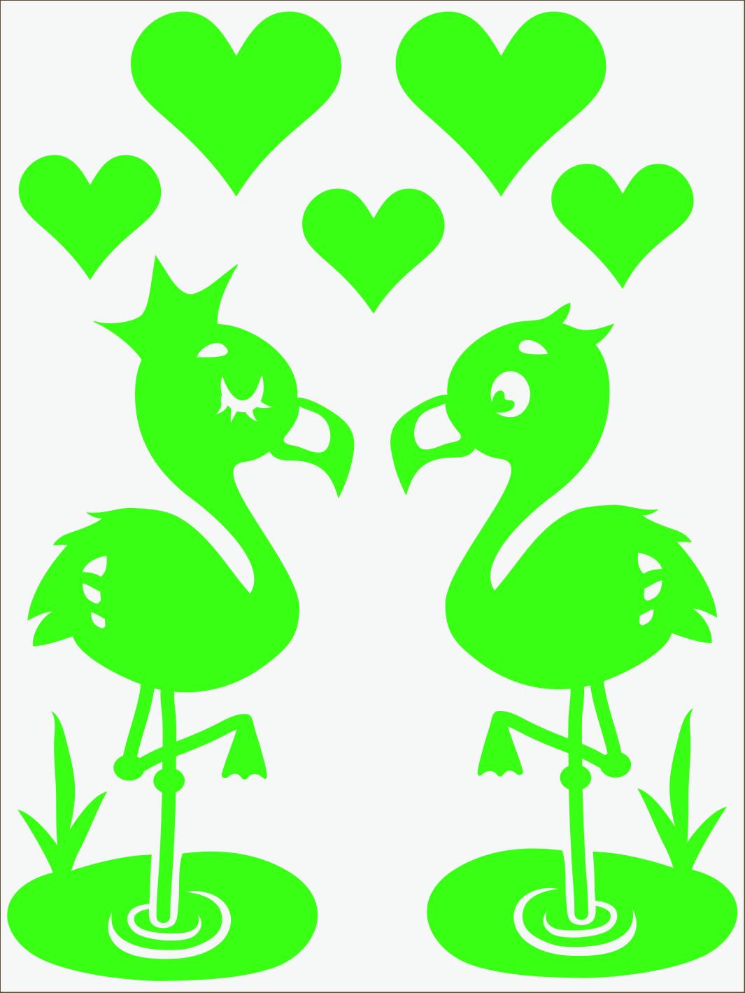 zelený neon nažehľovačky Flamingo