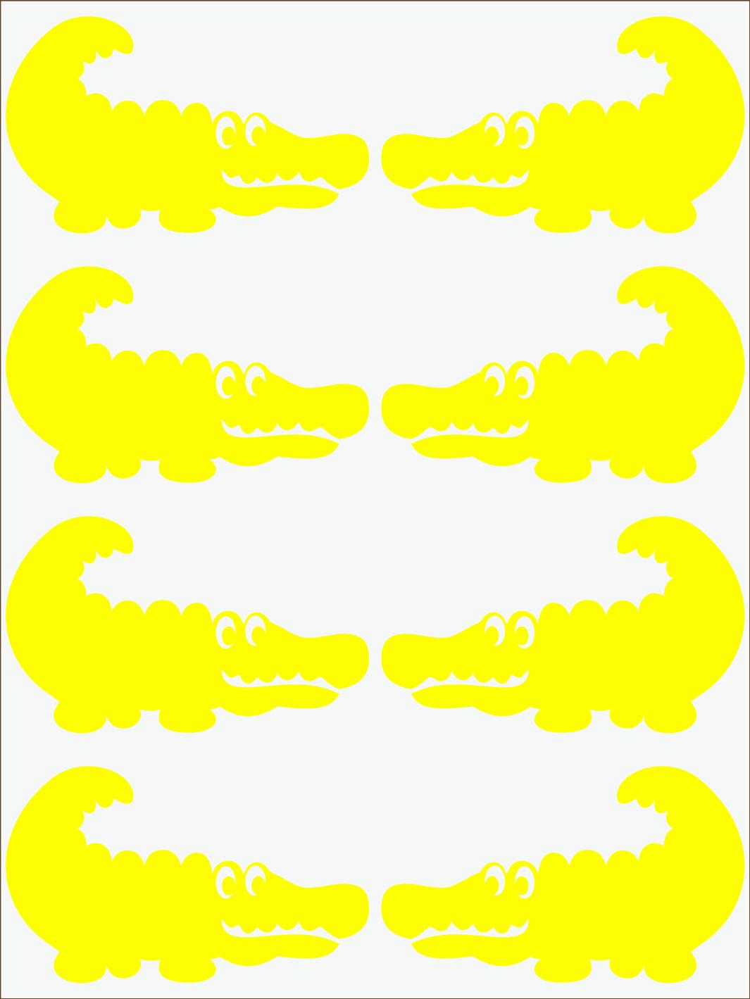 žltý  neon nažehľovačky Krokodíl 2