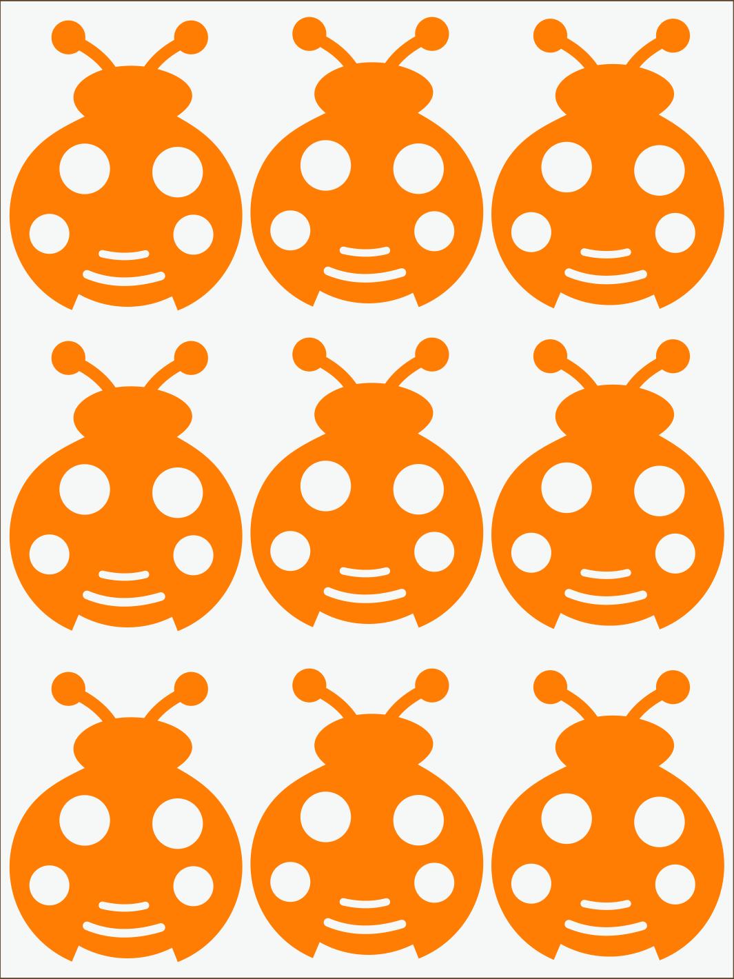 oranžový neon nažehľovačky Lienky
