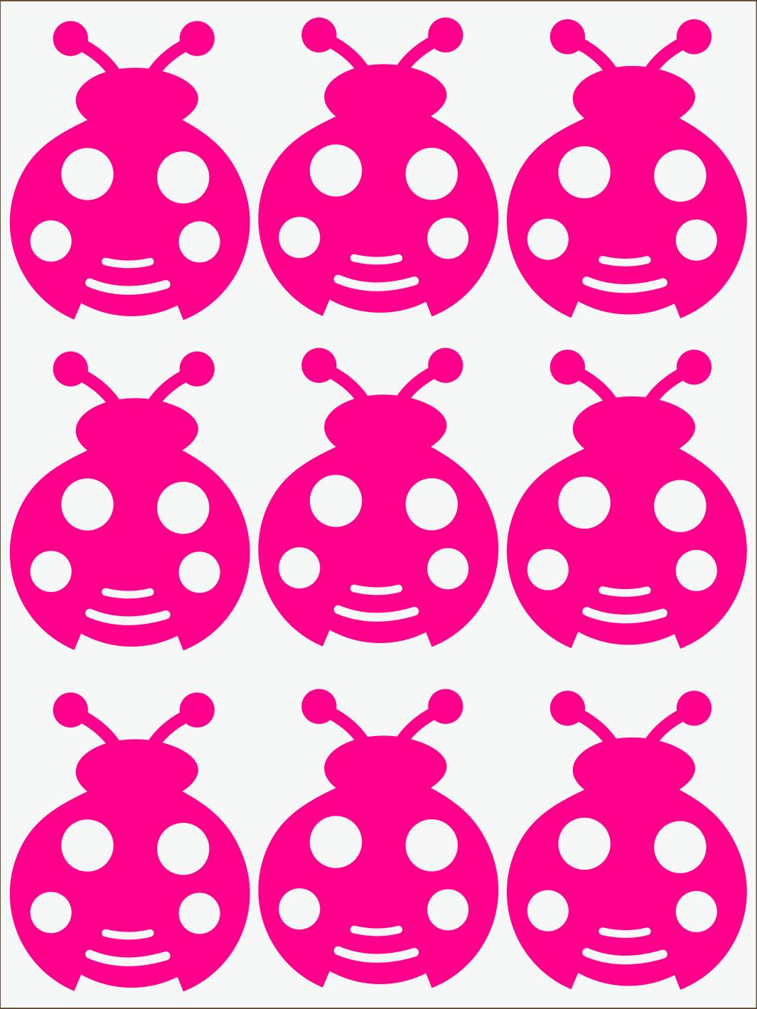 ružový neon nažehľovačky Lienky