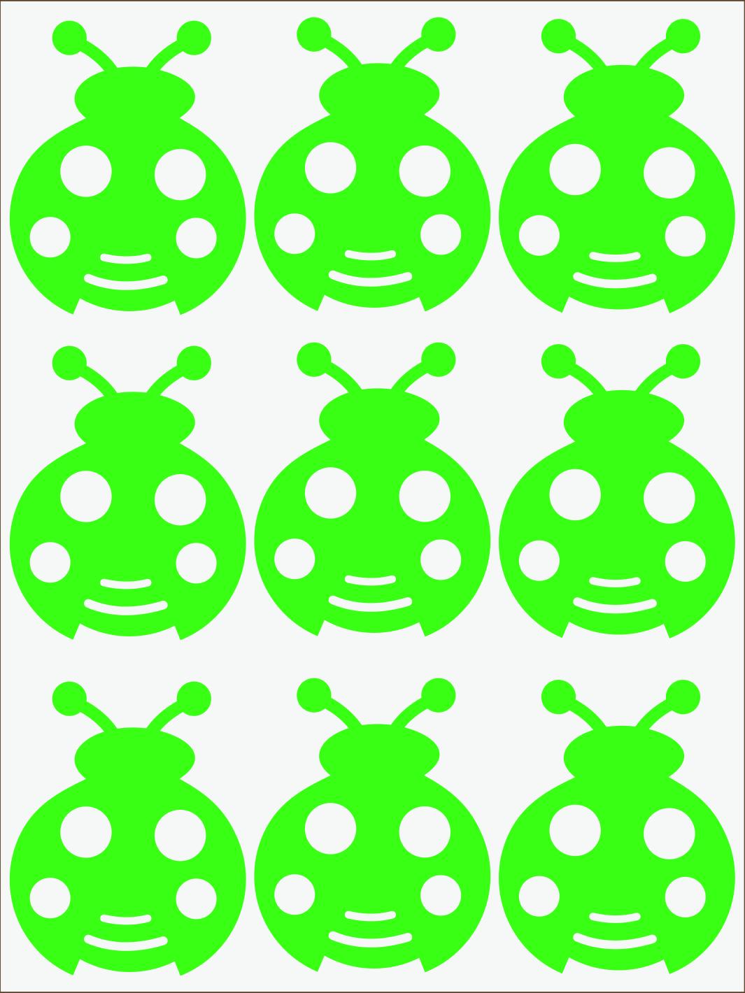 zelený neon nažehľovačky Lienky