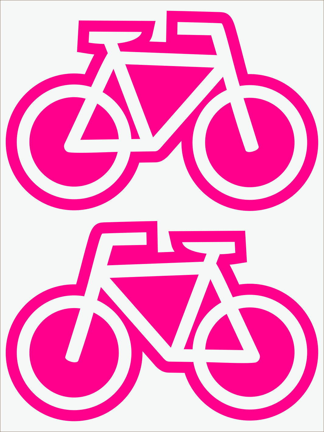 ružový neon nažehľovačky Bicykle