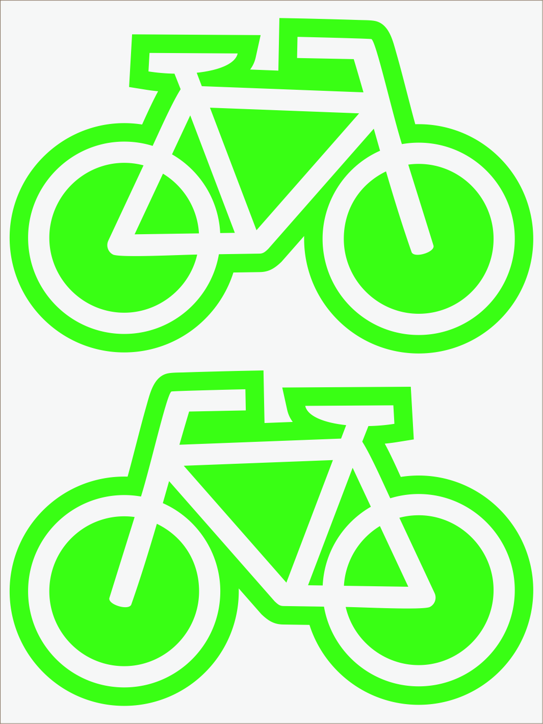 zelený neon nažehľovačky Bicykle