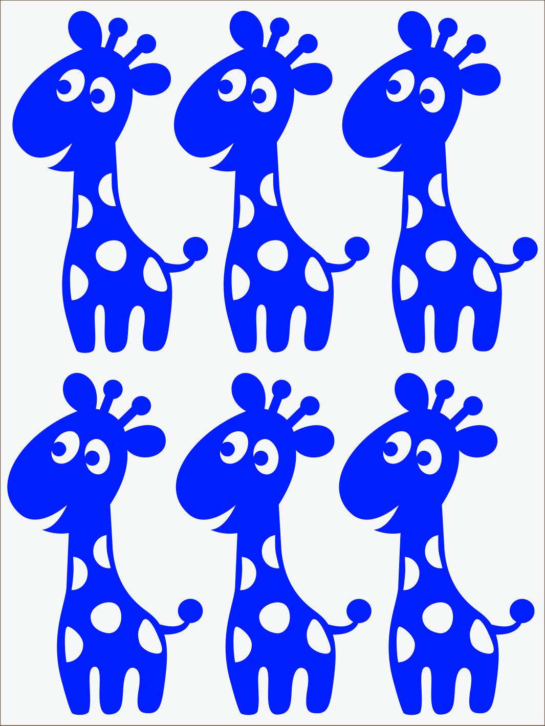 modrý neon nažehľovačky Žirafy