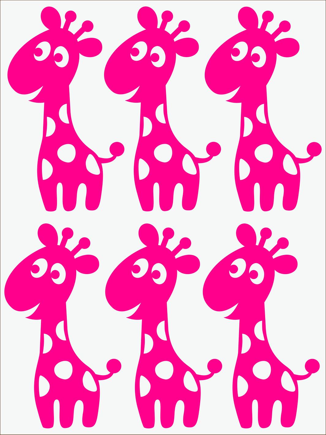 ružový neon nažehľovačky Žirafy