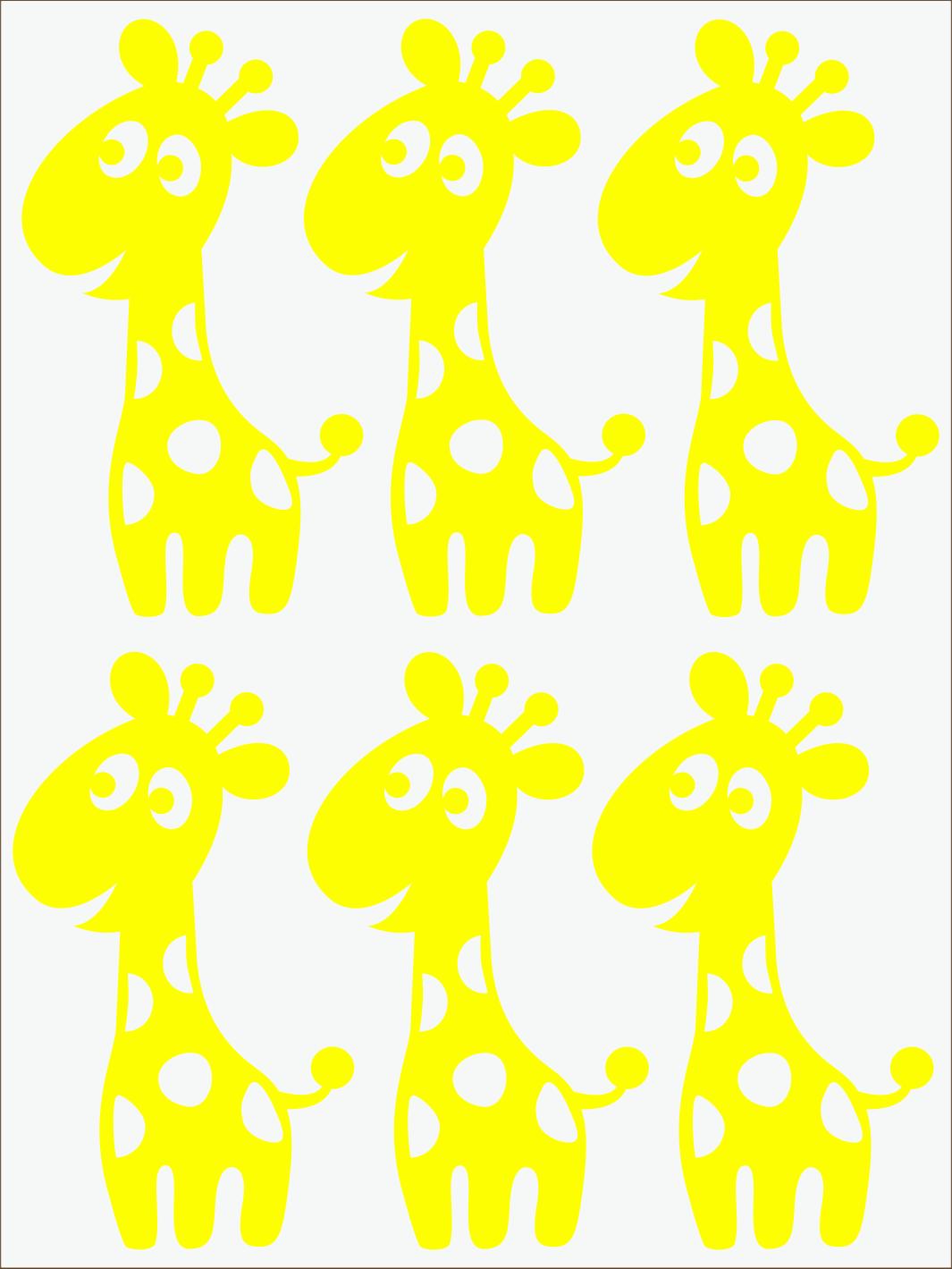žltý  neon nažehľovačky Žirafy