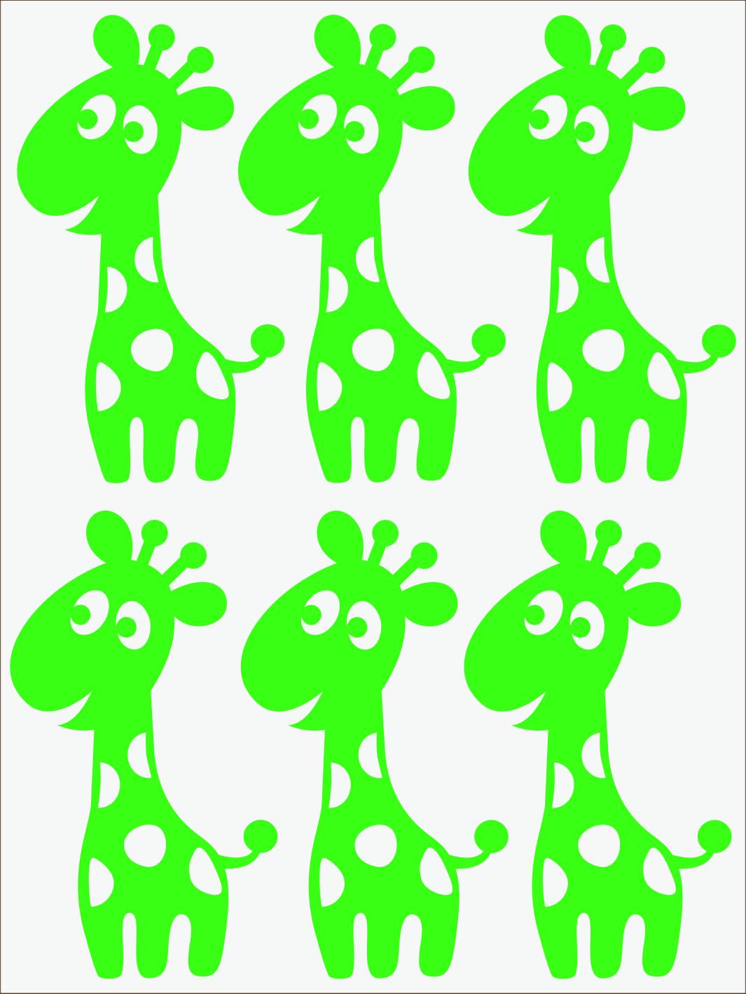 zelený neon nažehľovačky Žirafy
