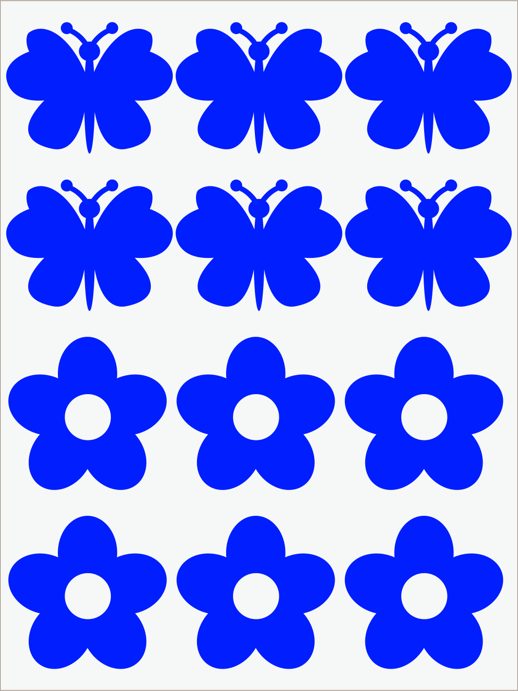 modrý neon nažehľovačky Kvietky a motýle