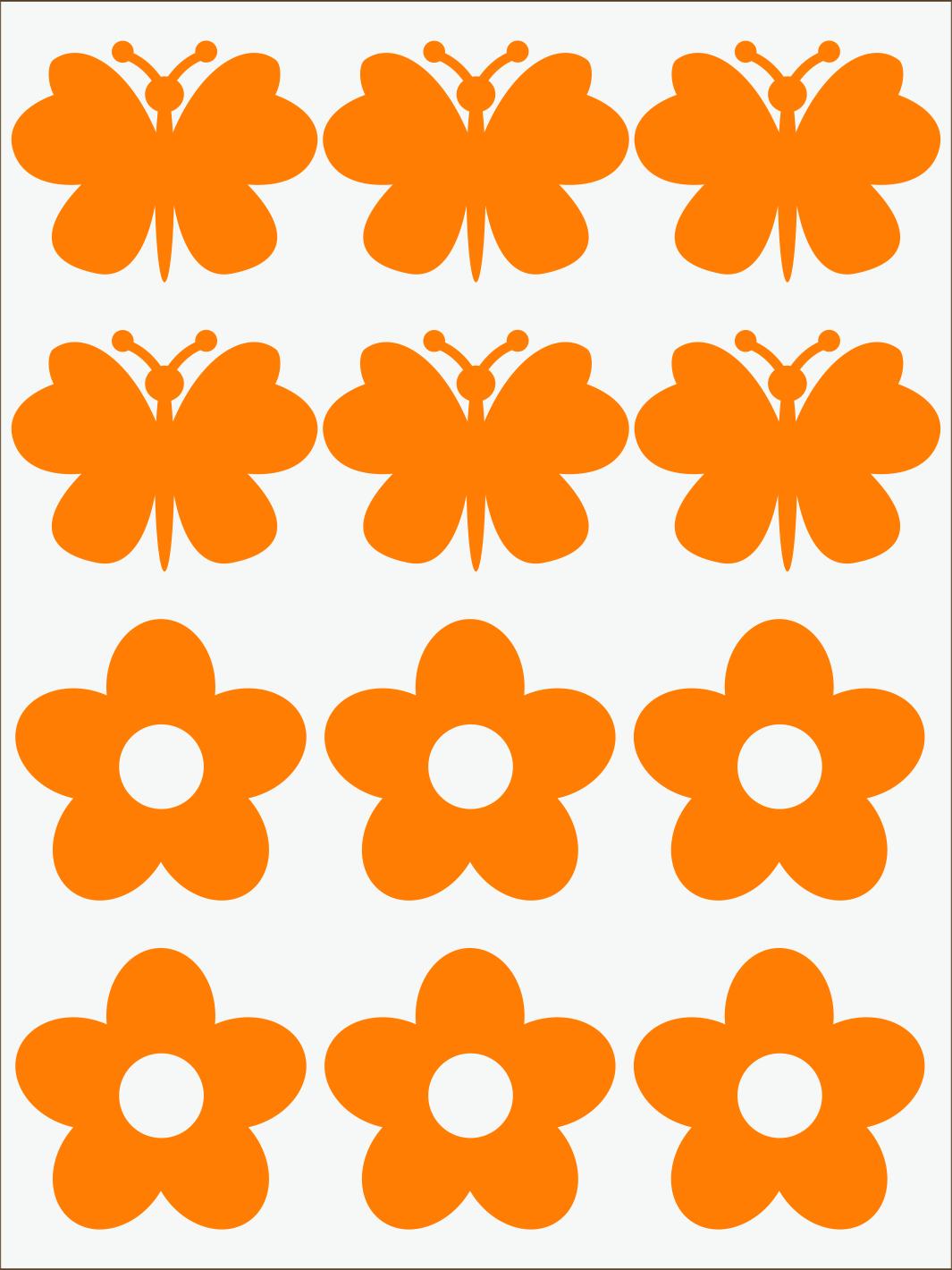 oranžový neon nažehľovačky Kvietky a motýle
