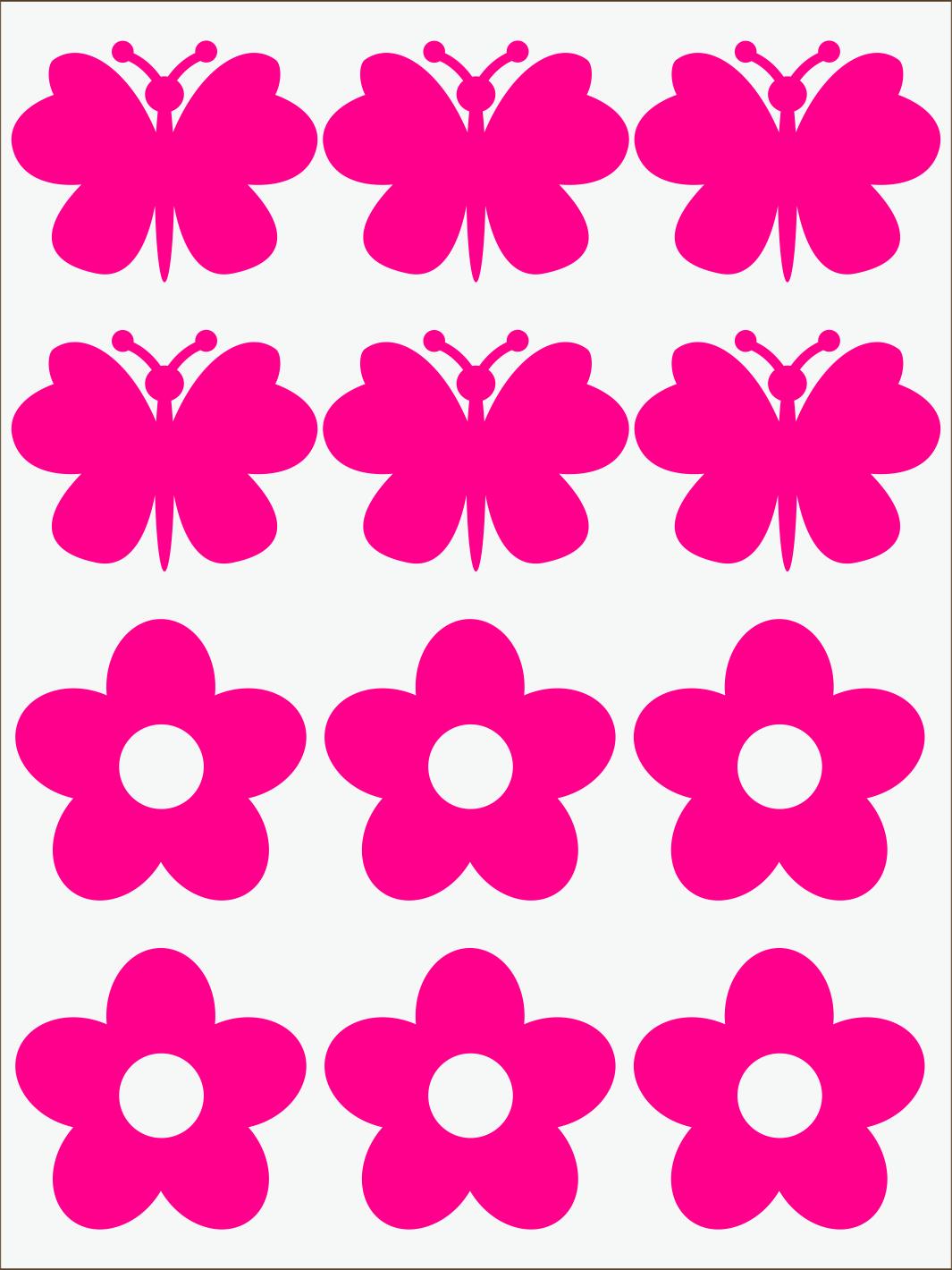 ružový neon nažehľovačky Kvietky a motýle