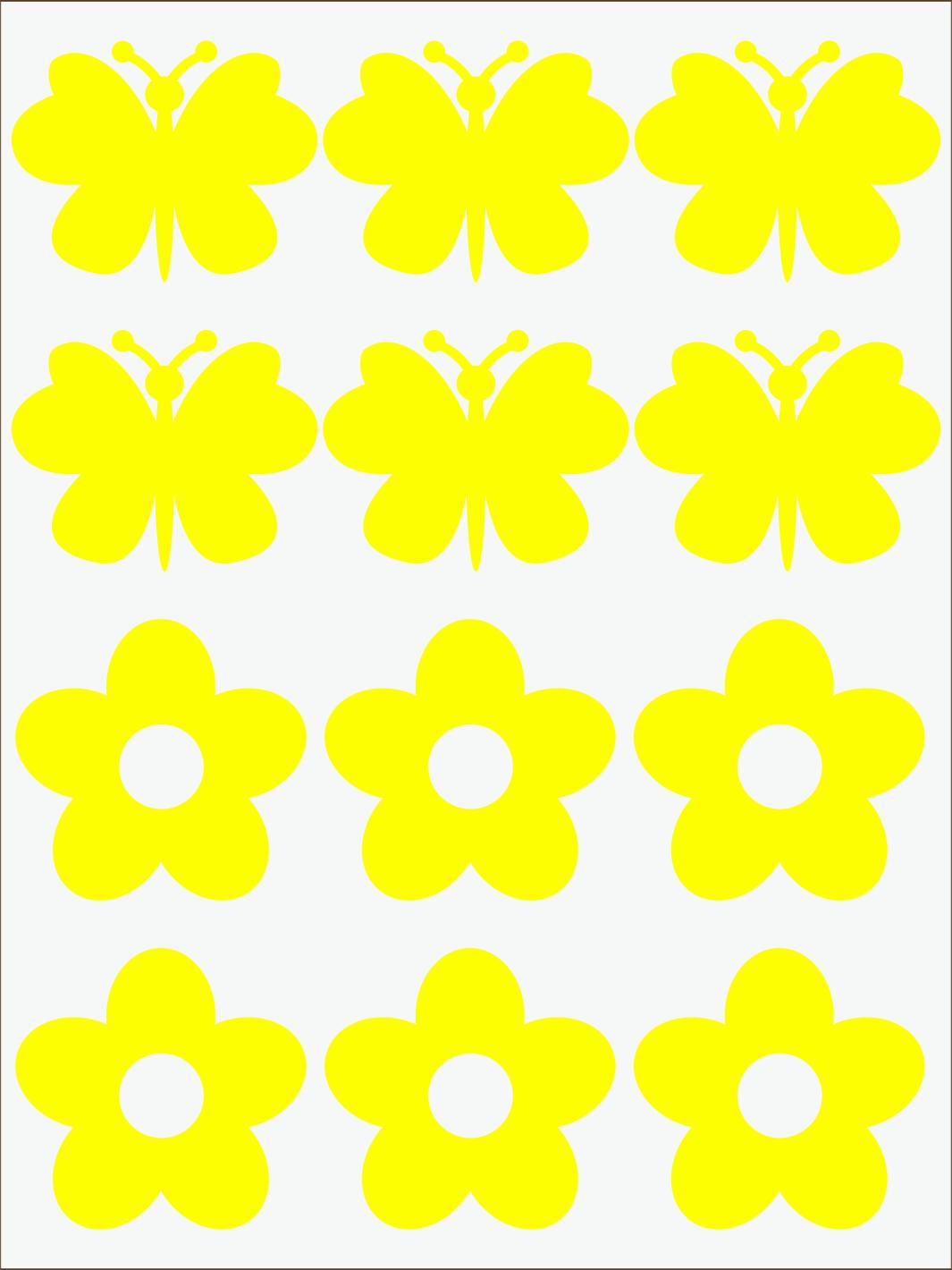 žltý  neon nažehľovačky Kvietky a motýle