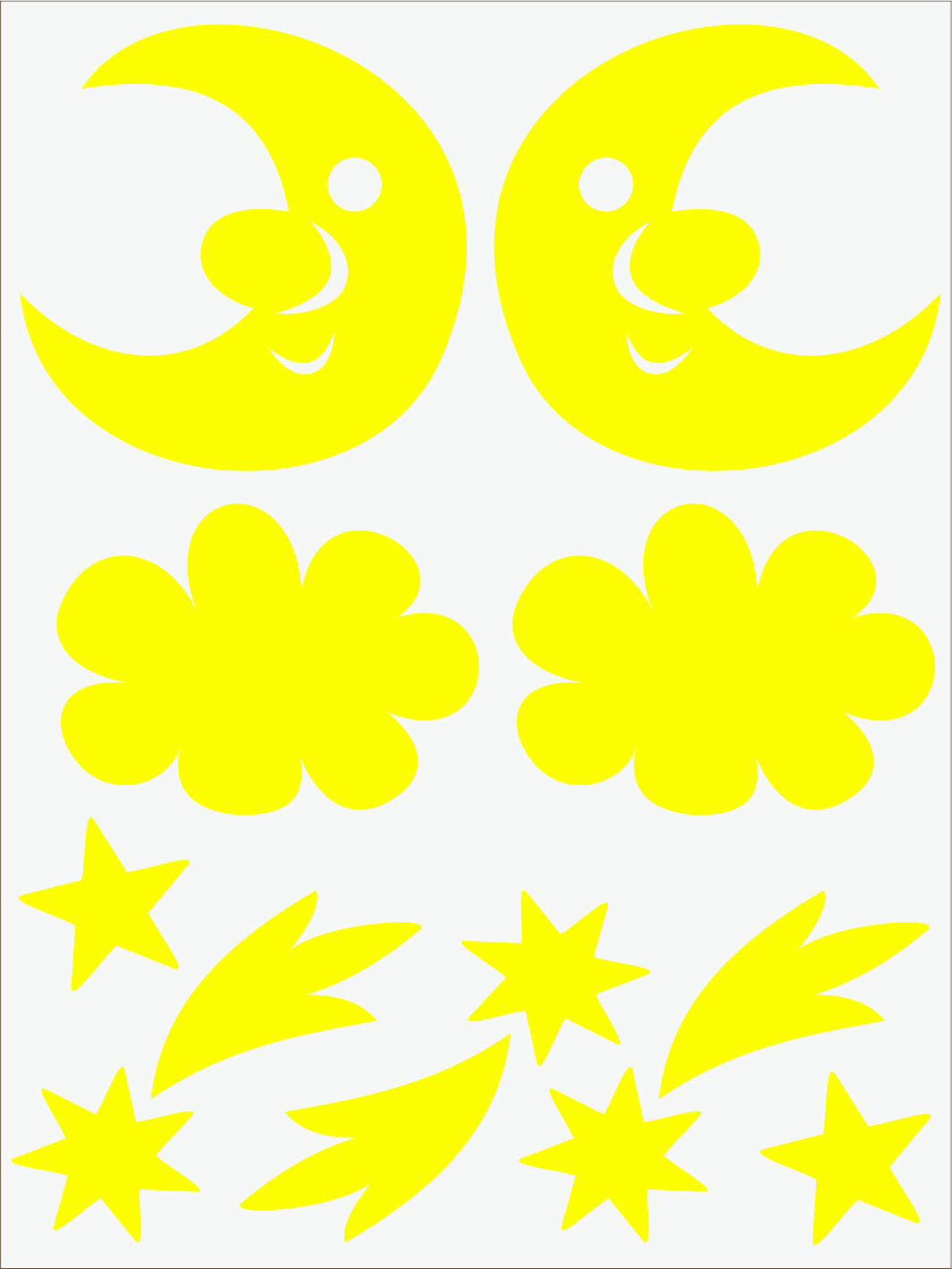 Mesiac a kométy neon žltý