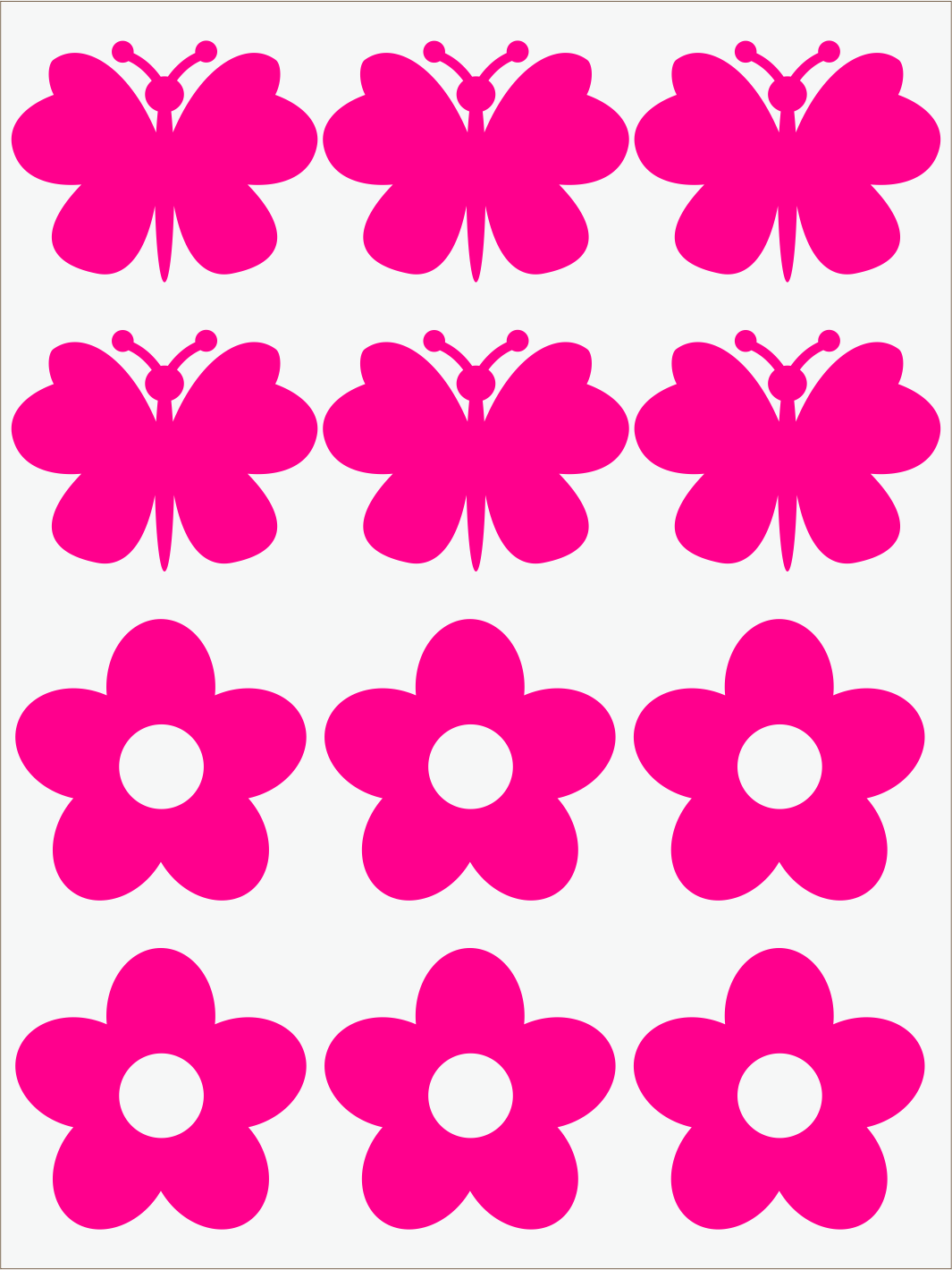 Kvietky a motýle neon ružový