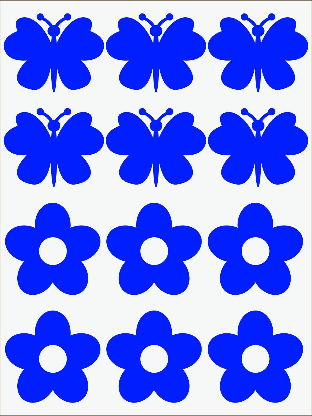 Kvietky a motýle neon modrý