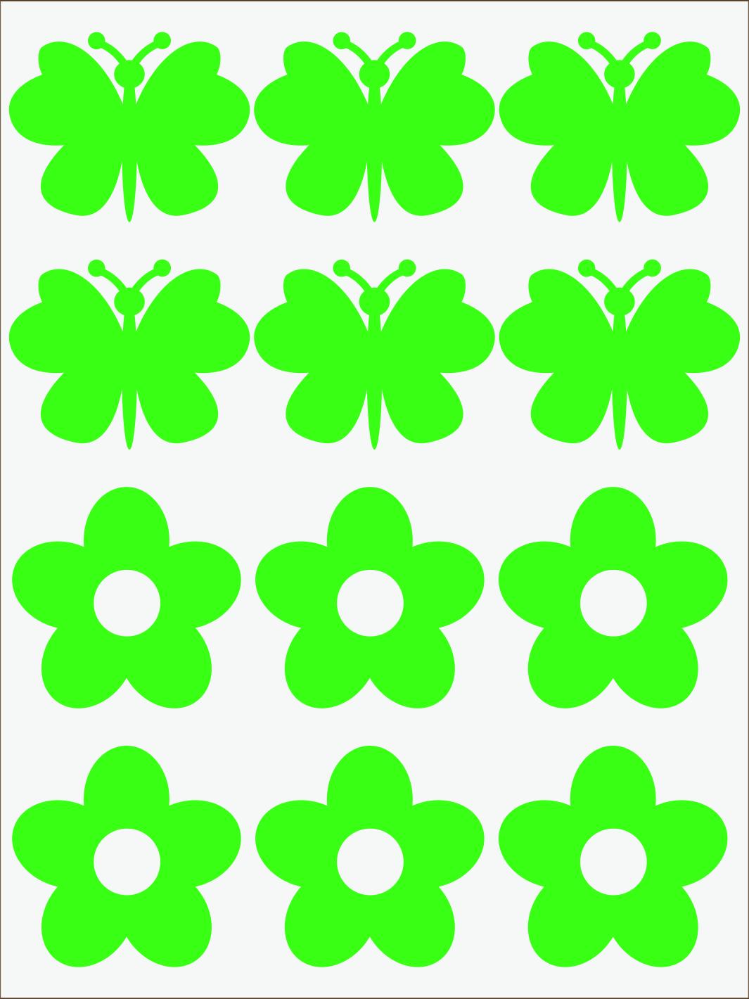 Kvietky a motýle neon zelený
