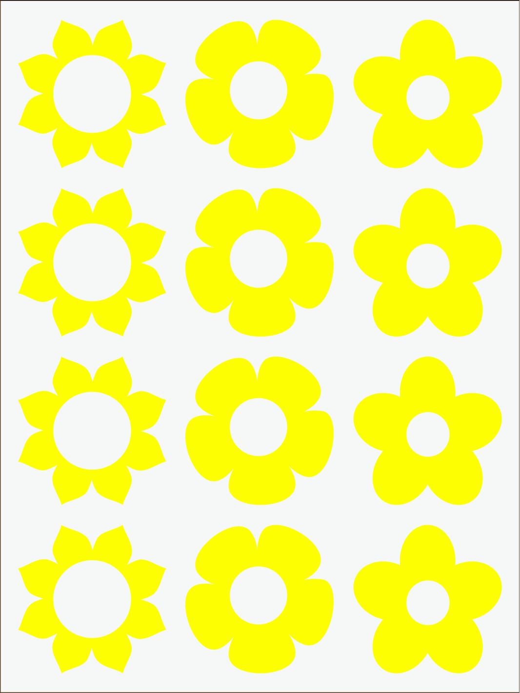žltý  neon nažehľovačky Kvietky 1